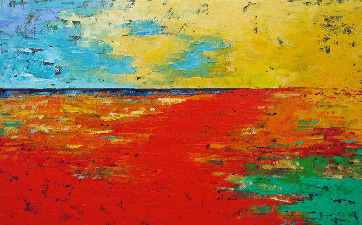 1205-12M - Painting,  42x65x3.5 cm ©2018 by Saroja La Colorista -                                                                        Abstract Art, Abstract Expressionism, Canvas, Seascape, red, abstract seascape, saroja, pallet knife, atlantic ocean, portugal