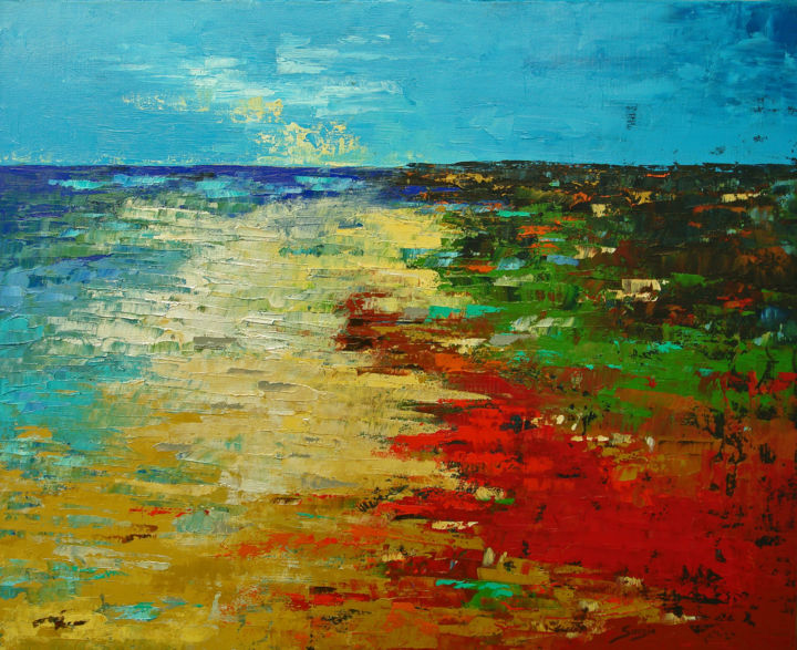 Blue Sky Beach (1204-12F) - Painting,  54x65x3.5 cm ©2018 by Saroja La Colorista -                                                                                    Abstract Art, Abstract Expressionism, Impressionism, Canvas, Seascape, pallet knife, saroja, beach, portugal, abstract landscape