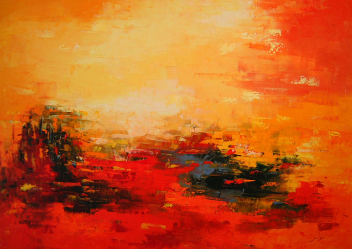 Hot hot red Summer (891-15M) - ©  red landscape, Mallorca, Pallet knife, hot, beautiful, warm, colourful Online Artworks