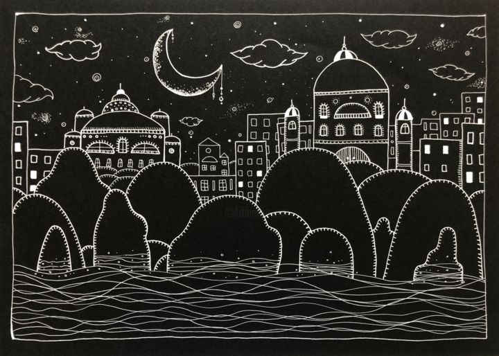 Arabian Night - Dessin,  8,27x11,69x0,1 cm ©2019 par Sofia Arpaci -                                                        Illustration, Paysage urbain, Paysage, arabian night, dreamy, magical, city, seascape, landscape, rocks, water, waves, starry, stars, black and white, illustration, line drawing, ink