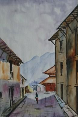 """Painting titled """"Going"""" by Sarupa Shrestha, Original Art, Other"""