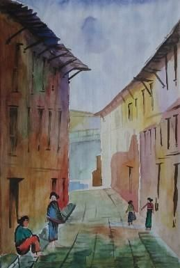 """Painting titled """"Kirtipur 1"""" by Sarupa Shrestha, Original Art, Other"""