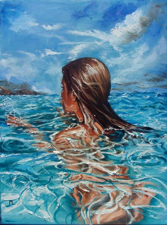 BY THE HORIZON - Painting,  31.5x23.6x0.8 in, ©2017 by Monika Luniak -                                                                                                                                                                                                                                                                                                                                                                                                          Figurative, figurative-594, Seascape, GIRL, SWIMMING, BLUE, SKY, SUMMER