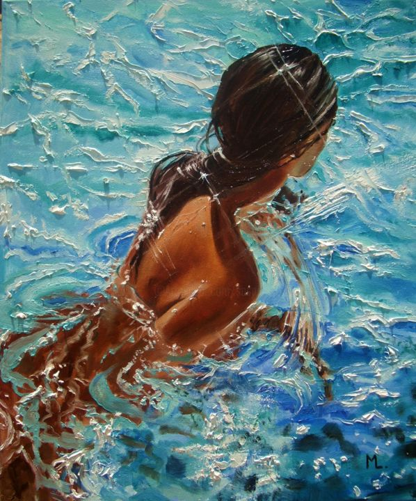 GIRL IN POOL - Painting,  23.6x19.7x0.8 in, ©2016 by Monika Luniak -                                                                                                                                                                                                                                                                                                                  Expressionism, expressionism-591, Water, GIRL, SWIMMING, MONIKA LUNIAK