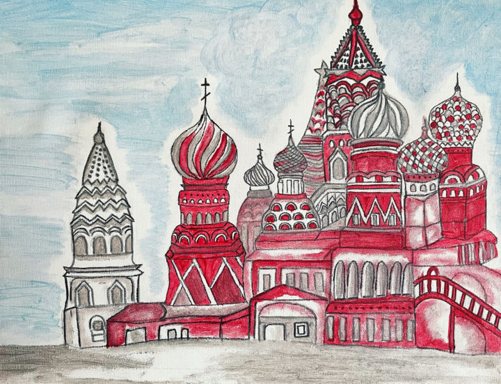 """Painting titled """"Russian Nouveau"""" by Nezabyvaemo, Original Art, Watercolor"""