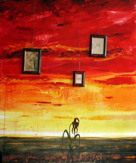 Grace under pressure - Painting,  48x40.2 in, ©2007 by Yanick Sasseville -