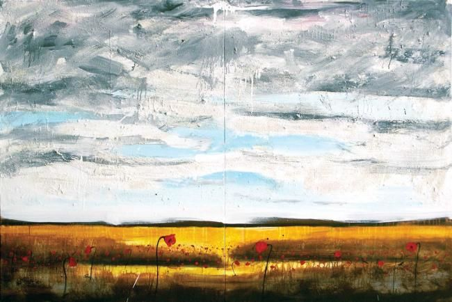 Too many poppies - Painting,  48x72.1x0.4 in, ©2007 by Yanick Sasseville -