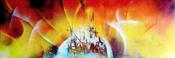 Town On Fire - Painting,  15.8x47.2x0.6 in, ©2018 by Koyot 40107 -