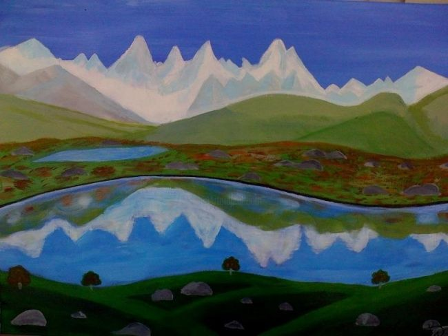 Painting,  91 x 61 cm ©2012 by Iglesias -  Painting, North American Realism, a beautiful landscape with mountains of ice and a beautiful lake