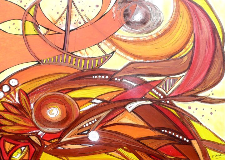 Mandala day ... - Painting,  19.7x27.6 in, ©2014 by Sylvie Sauvé -                                                                                                                                                                                                                                                                                                              Abstract, abstract-570, Voyages, imaginaire, mandala, recentrage ...