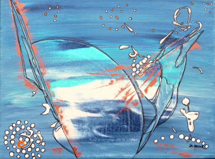 Mari-Morgan ... - Painting,  11.8x15.8 in, ©2014 by Sylvie Sauvé -                                                                                                                                                                                                                                                                                                                                                              Abstract, abstract-570, Fish, Sirènes, légendes, mer, ...