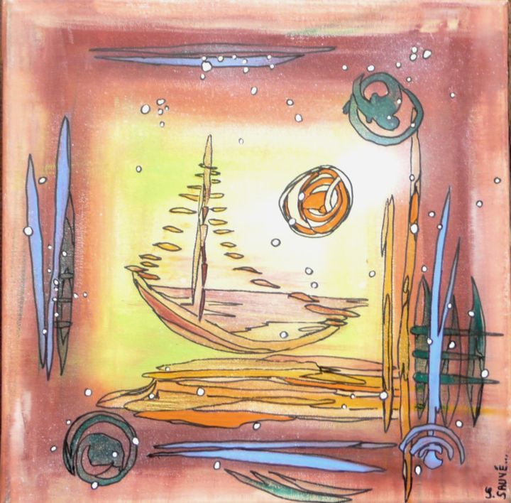 Mirage ... - Painting,  30x30 cm ©2014 by Sylvie Sauvé -                                            Abstract Expressionism, Boat, rêve, voilier, mirage