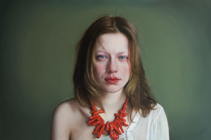 CORAL 5 - Painting,  80x120x3 cm ©2015 by Viktoria Savenkova -                                                                                                                                    Figurative Art, Portraiture, Realism, Contemporary painting, Photorealism, Canvas, Women, Men, Portraits, coral, emotions, girl, necklace, hyperrealism
