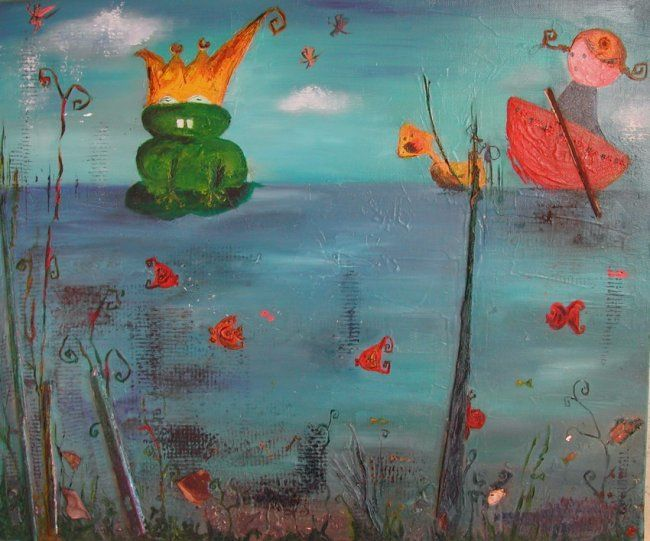 princesse grenouille - Painting,  10 cm ©2006 by stef b -