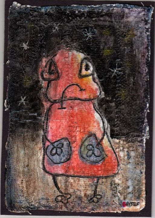 TOUT TRISTE - Painting,  16x11.5 cm ©2005 by stef b -