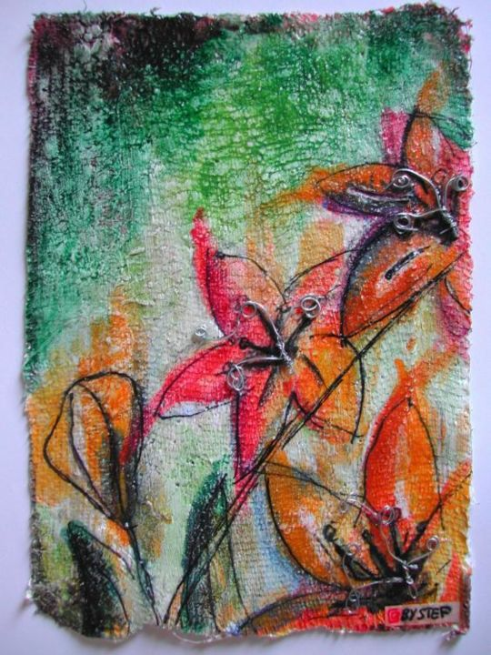 FLEURS - Painting,  15x10 cm ©2005 by stef b -