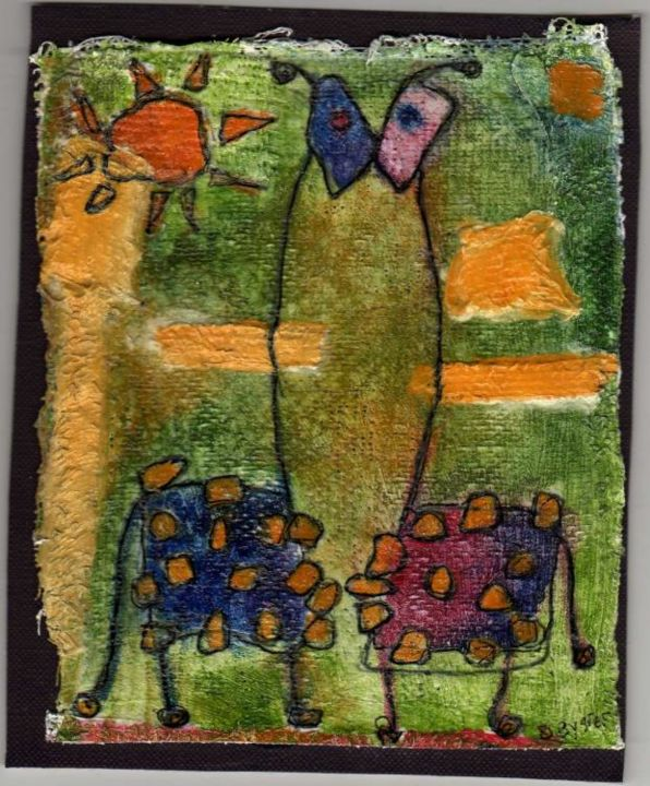 couple de girafes - Painting,  14.5x12.5 cm ©2005 by stef b -
