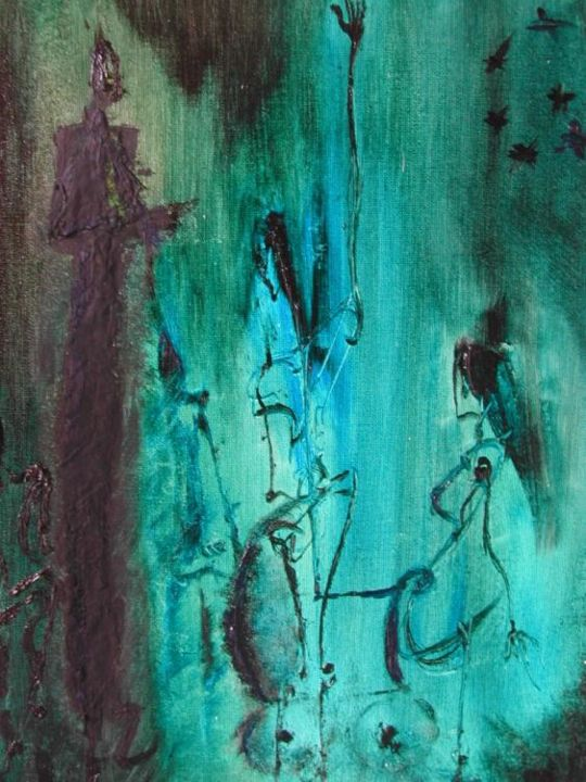 l'attente - Painting,  27x22 cm ©2005 by stef b -