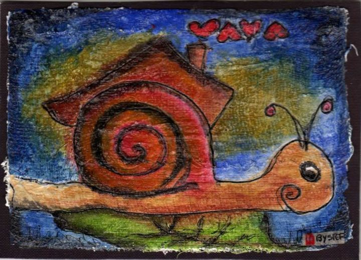 le grand voyageur - Painting,  16x11.5 cm ©2005 by stef b -