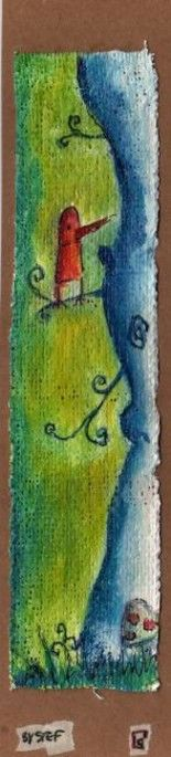 corbeau poète - Painting,  21x4.5 cm ©2008 by stef b -