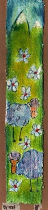 prairie et moutons - Painting,  21x4.5 cm ©2008 by stef b -