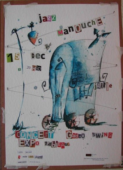 manouche 1: affiche concert gadjo swing - Drawing ©2006 by stef b -