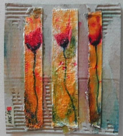 3 coquelicots - Painting,  12x10.5 cm ©2006 by stef b -