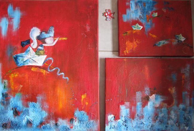 "tryptique ""petits pirates"" - Painting ©2010 by stef b -"