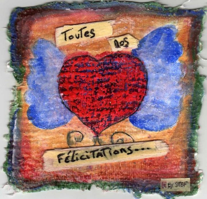 mariage - Painting,  10x10 cm ©2006 by stef b -