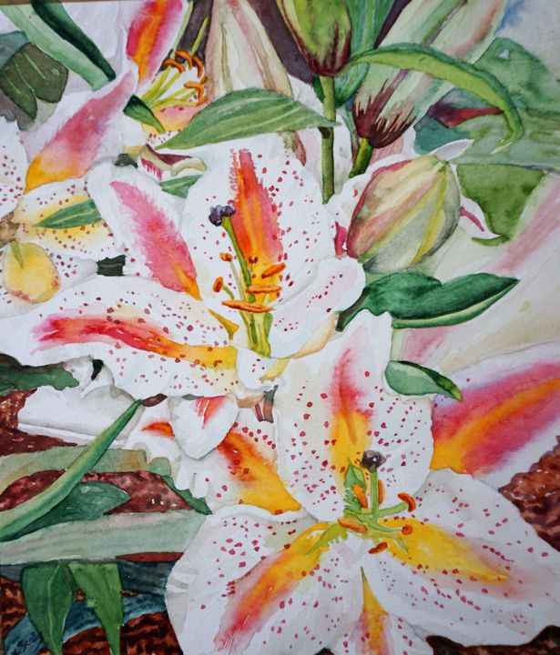 Lily - Painting,  10.6x9.1 in, ©2019 by Scally Art -                                                                                                                                                                                                                                                                                                                                                                                                          Figurative, figurative-594, Flower, Lily, lillies, floral, watercolour, scally art