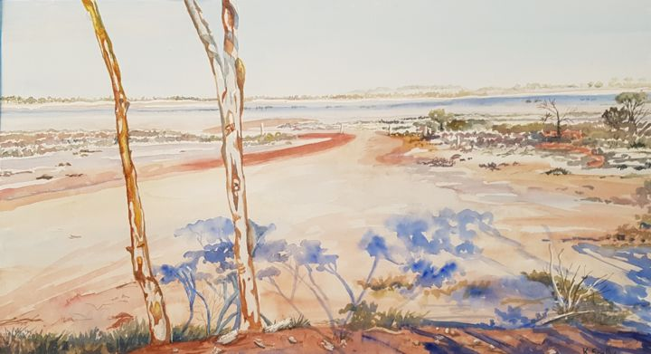 """Painting titled """"Shadows on the Salt"""" by Scally Art, Original Art, Watercolor"""