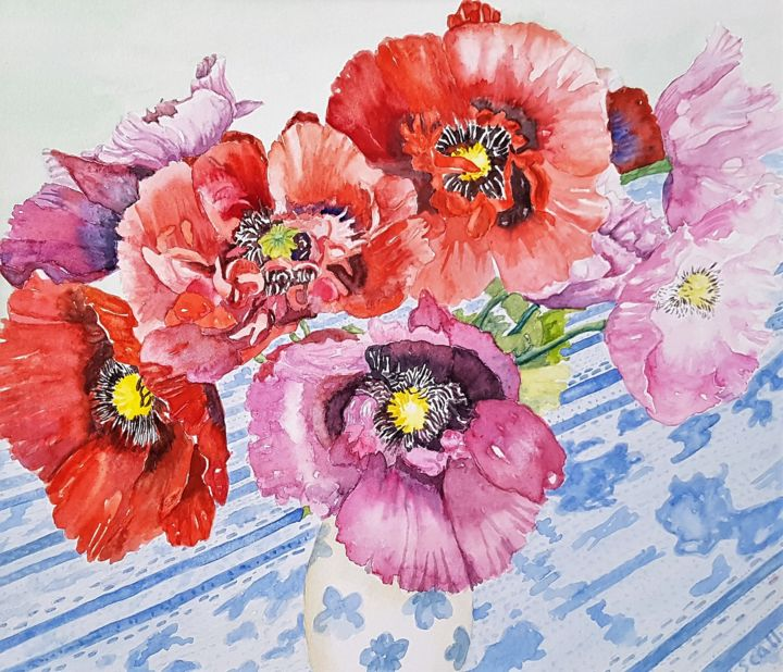 """Painting titled """"Poppies from Liz"""" by Scally Art, Original Art, Watercolor"""