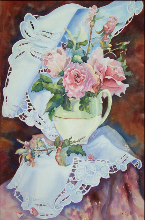 Bridal Pink - Painting,  21.5x13.75 in ©2005 by Scally Art -                            Realism, painting of rose with jug and doily