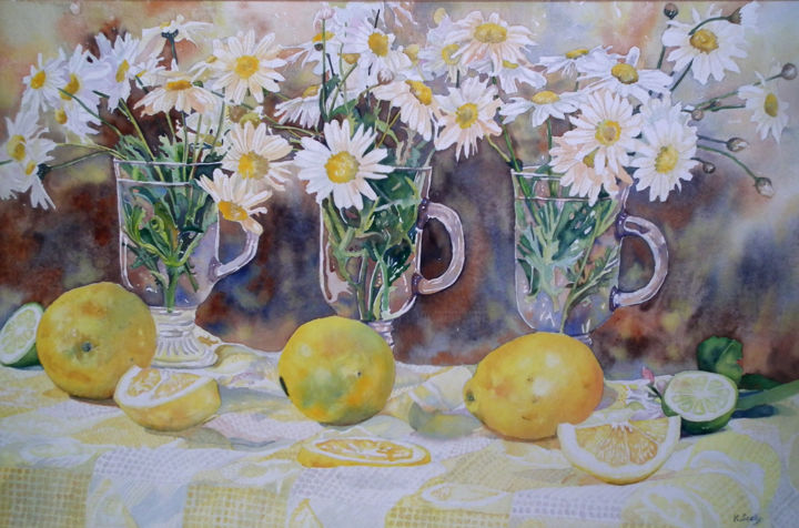 Fresh as a Daisy - Painting,  14.2x21.7 in, ©2011 by Scally Art -                                                                                                                                                                                                                                                                                                                                                                                                                                                                                                                                              Figurative, figurative-594, Still life, Lemons, daisies, daisy, fresh, still life, Scally, Art, Dumbleyung