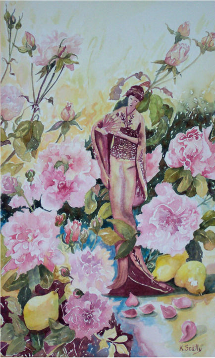 China Rose - Female - Painting, ©2014 by Scally Art -                                                                                                                                                                                                                                                                  Figurative, figurative-594, Watercolour, rose, china rose