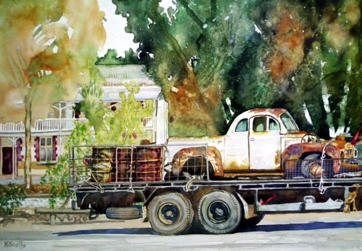 Aged Beauties in Dumbleyung Western Australia - Painting,  9.5x13.4 in, ©2014 by Scally Art -                                                                                                                                                                                                                                                                                                                                                                                                                                                                                                  Figurative, figurative-594, Automobile, vehicle, ute, truck, hotel, Dumbleyung, Hotel, Australia
