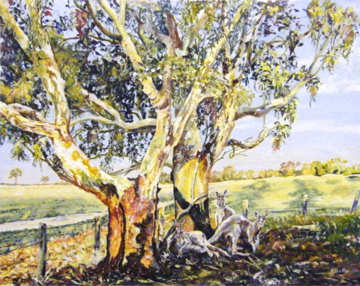 Relaxing at Nunagin, Dumbleyung - Painting ©2014 by Scally Art -                                                            Realism, Canvas, Landscape, Kangaroos, landscape, farm, tree, light, Noonagin, Dumbleyung, Australia