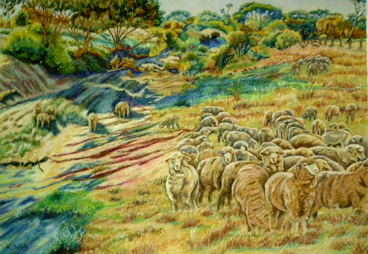 Sheep in the Creek - Dumbleyung - Painting,  19.7x27.6 in, ©2014 by Scally Art -                                                                                                                                                                                                                                                                                                                                                                                                          Figurative, figurative-594, Landscape, landscape, sheep, creek, Dumbleyung, Pastel