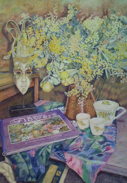 A Bouquet of Flowers - Painting,  27.6x19.7 in, ©2014 by Scally Art -                                                                                                                                                                                                                                                                                                                                                                                                                                                                                                                                                                                          Figurative, figurative-594, Flower, Wattle, silk, cumquat, mask, china, cup, Meakin, Still Life, book