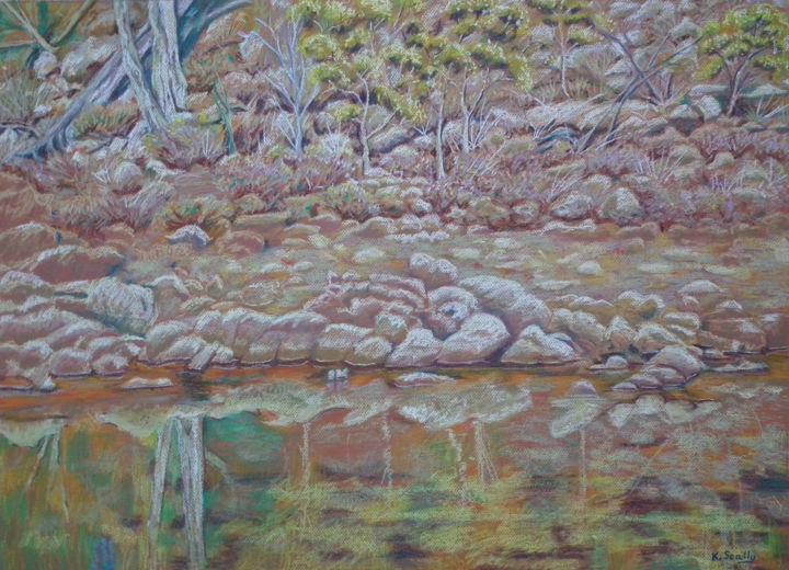 The other side of the river Coblinine - Dumbleyung Western Australia - Painting,  52x72 cm ©2014 by Scally Art -                                                            Realism, Paper, Water, River, Coblinine, water, rocks, landscape, Scally art, Dumbleyung, Western Australia