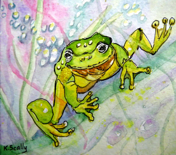 Frog 2 - Painting,  3.2x3.9x1.6 in, ©2014 by Scally Art -                                                                                                                                                                                                                                                                                                                  Figurative, figurative-594, Animals, Frog, green, watercolour
