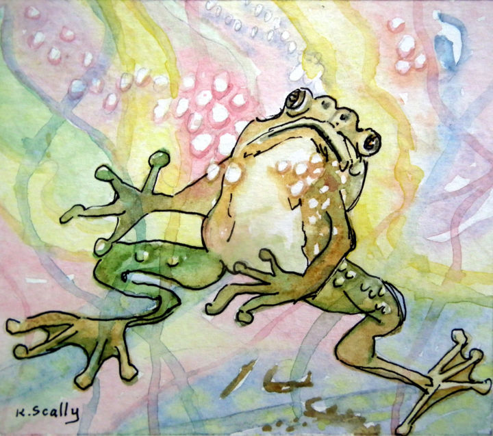 Why Me - Frog 5 - Painting,  10x8 cm ©2014 by Scally Art -                                                            Realism, Paper, Animals, Frog, green, watercolour
