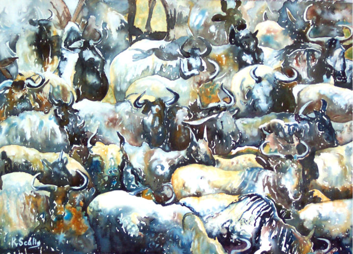 Wildebeest Patterns - Painting ©2014 by Scally Art -                                                            Expressionism, Paper, Animals, Wildebeest, patterns, animal, Africa, watercolour, gouache