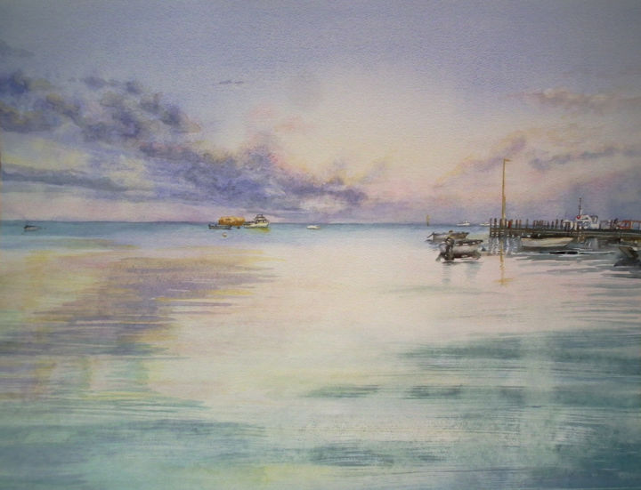 Leeman Jetty Western Australia - Painting,  20.9x28 in, ©2014 by Scally Art -                                                                                                                                                                                                                                                                                                                                                                                                                                                                                                                                                                                          Figurative, figurative-594, Seascape, Seascape, water, beach, jetty, boats, sunset, Leeman, Holiday, landscape