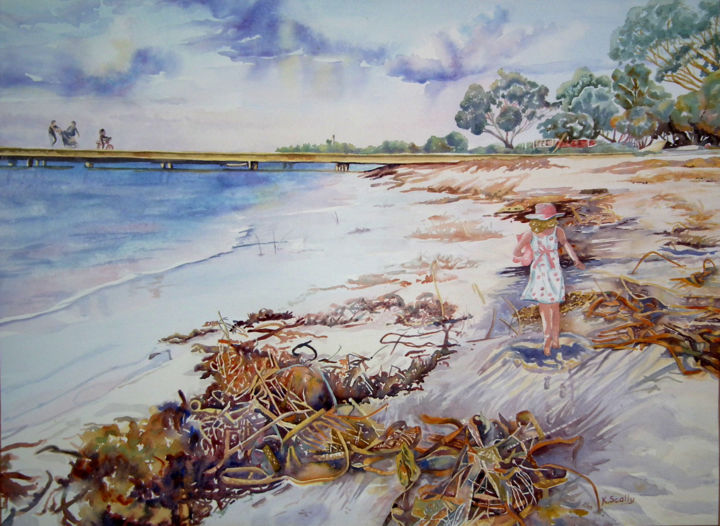 Happiness at Leeman Western Australia - Painting,  53x71 cm ©2014 by Scally Art -                                                            Realism, Paper, Seascape, Sea, sand, seaweed, child, jetty, ocean, Leeman