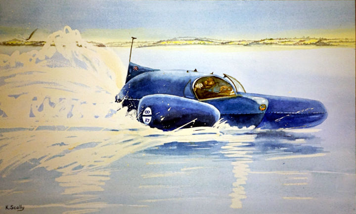 Breaking the Record on Lake Dumbleyung - Painting,  12.6x20.9 in, ©2014 by Scally Art -                                                                                                                                                                                                                                                                                                                                                                                                                                                                                                                                                                                                                                      Figurative, figurative-594, Boat, bluebird, lake, Donald Campbell, water, speed, Dumbleyung, history, Scally, art, watercolour