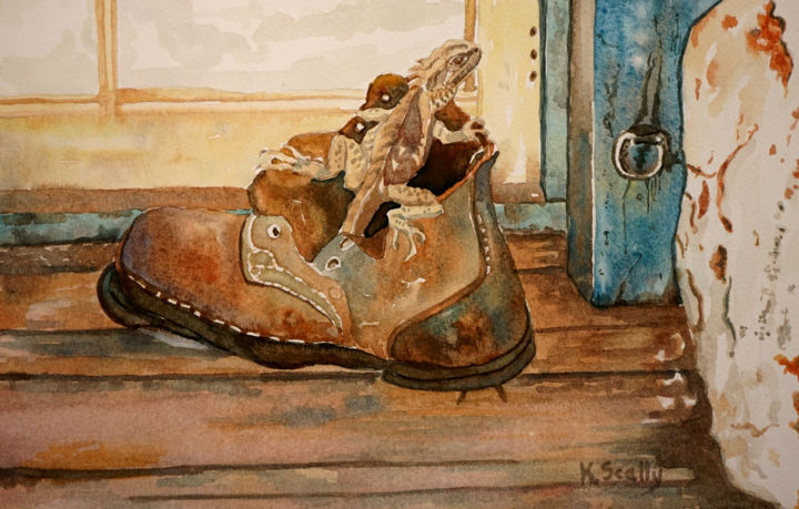 Old Boot and Lizard at Wheatfields, Dumbleyung - Painting,  9.5x13.4 in, ©2015 by Scally Art -                                                                                                                                                                                                                                                                                                                                                                                                                                                                                                                                                                                                                                      Figurative, figurative-594, Animals, old, boot, watercolour, lizard, Dumbleyung, Scally, Art, Wheatfields, farm, interior