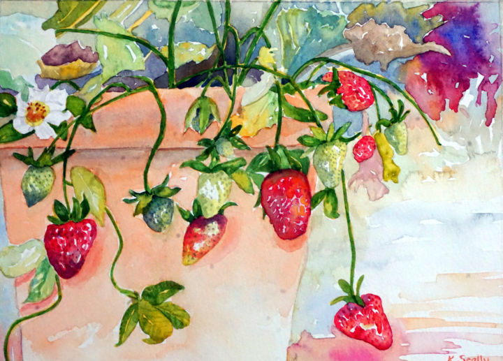 Strawberries - Painting,  11x8 in ©2015 by Scally Art -                                                                                    Realism, Paper, Flower, Food & Drink, Garden, strawberries, pot, plant, food, Scally art, Dumbleyung, Australia