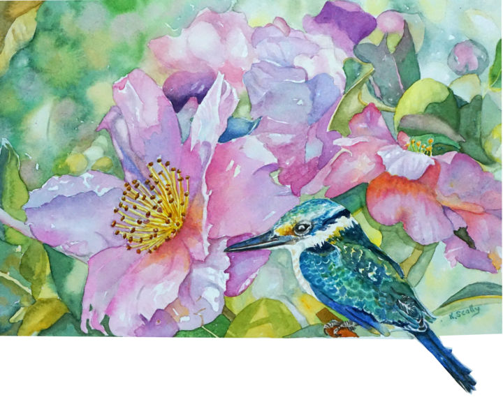 Kingfisher with Camelias - Painting ©2015 by Scally Art -                                                                                    Realism, Paper, Birds, Botanic, Flower, Birds, kingfisher, watercolor, Camelia, flower, flora, floral, Dumbleyung, Scally Art, blue, Dwellingup, Australia