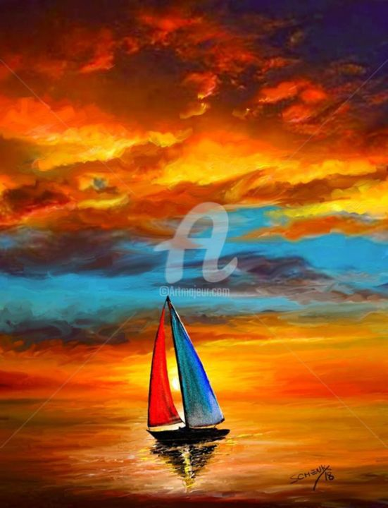 sailboat-at-sunset.jpg - Painting ©2018 by Guillermo Schenk -